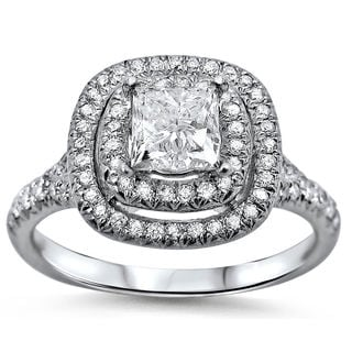 18k White Gold 1 2/5ct TDW Double Halo Clarity-enhanced Diamond Engagement Ring (G-H, SI1-SI2)