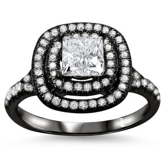 18k Black Gold 1 1/4ct TDW Clarity-enhanced Double Halo Diamond Ring (G-H, SI1-SI2)
