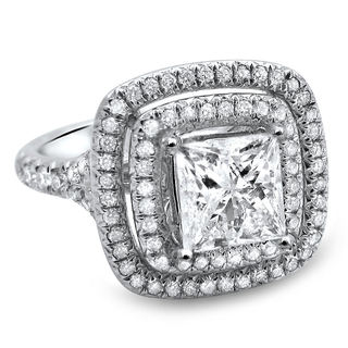 18k White Gold 1 5/8ct TDW Diamond Clarity-enhanced Double Halo Diamond Engagement Ring (G-H, SI1-SI2)
