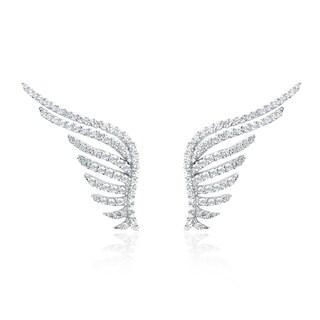 Blue Box Jewels Rhodium-plated Sterling Silver Premium EQ Star Cubic Zirconia Angel Wing Stud Earrings