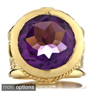 18k Goldplated Brass Round-cut Gemstone Victorian Style Ring