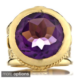 Emitations 18k Goldplated Brass Round-cut Gemstone Victorian Style Ring