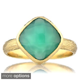 Emitations Brass Cushion-cut Gemstone Right Hand Ring