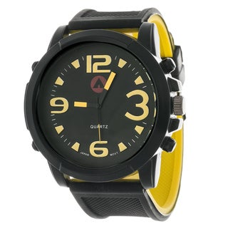 Airwalk Men's Sport Round Watch with Yellow Rubber Strap