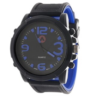 Airwalk Men's Sport Round Watch with Blue Rubber Strap