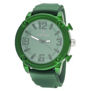 Airwalk Elegant Round Watch with Green Rubber Strap