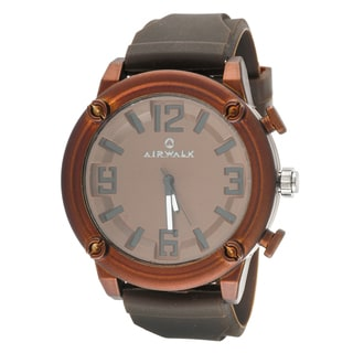 Airwalk Elegant Round Watch with Brown Rubber Strap