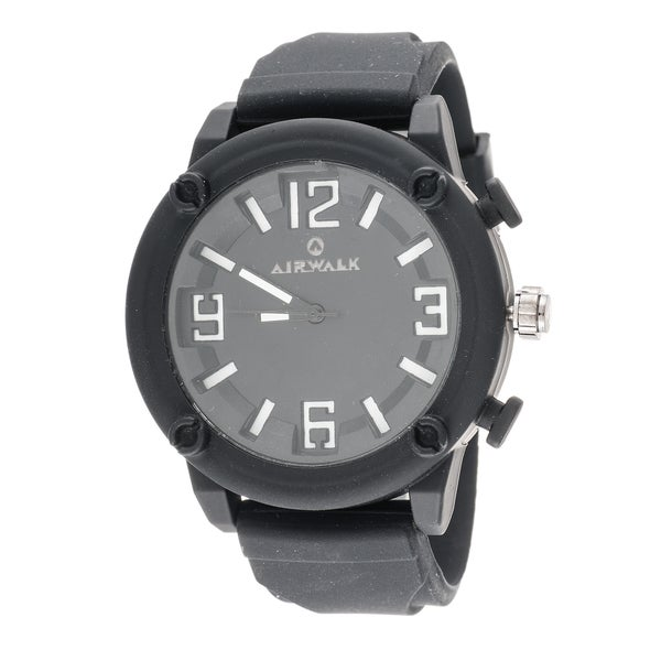Airwalk Elegant Round Watch with Black Rubber Strap