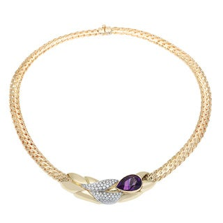 H. Stern 18k Yellow Golf 1 1/4ct TDW Diamond Amethyst Basket Weave Necklace (D-F, VS1)