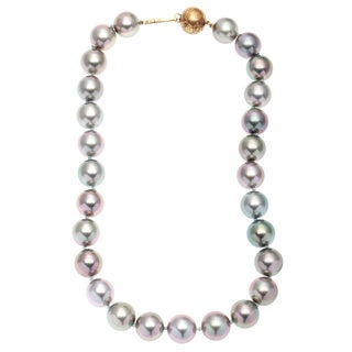 Gump 18-22k Yellow Gold Multicolor/ Pistachio South Sea Tahitian Pearl Necklace (13-13.5 mm)