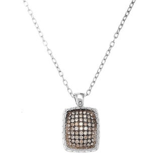 E1086 Roberto Coin 18k White Gold 1 1/3ct TDW Champagne Diamond Pendant Locket (VS-SI)