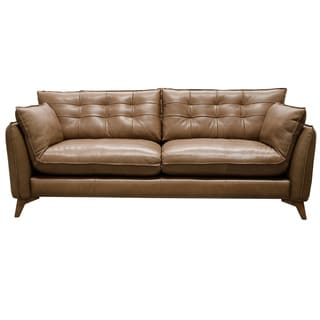 Toby Aurora Leather 85-inch Mid Century Modern Sofa