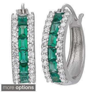 Gioelli Sterling Silver Gemstone Hoop Accented Earrings