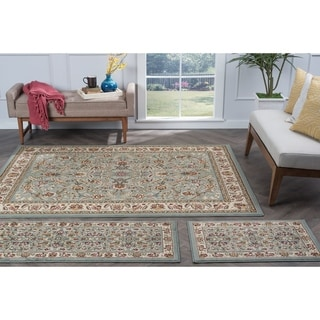 Alise Lagoon Blue Traditional Area Rugs (Set of 3)