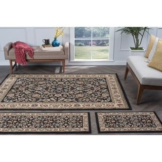 Alise Lagoon Black Traditional Area Rugs (Set of 3)