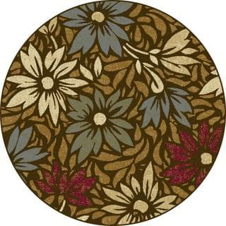 Lagoon Brown Contemporary Area Rug (7'10 Round)