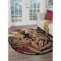 Alise Lagoon Black Oval Transitional Area Rug (5'3 x 7'3 Oval)