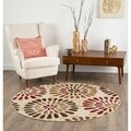 Lagoon Ivory Contemporary Area Rug (7'10 Round)