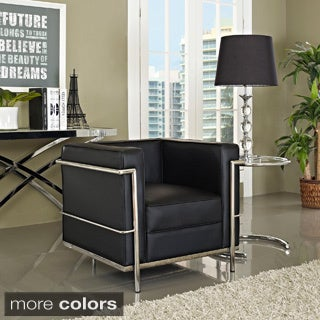 LC2 Genuine Leather Stainless Steel Frame Armchair