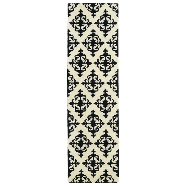 Runway Black/Ivory Damask Hand-tufted Wool Rug (2'3' x 8') - 2'3 x 8' 12993772