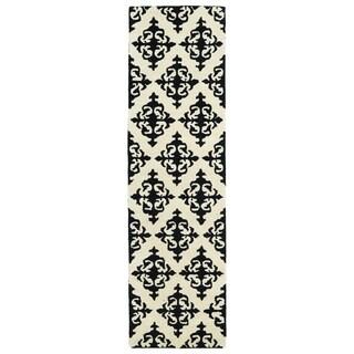 Runway Black/Ivory Damask Hand-tufted Wool Rug (2'3' x 8')