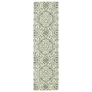 Runway Mint/Ivory Damask Hand-tufted Wool Rug (2'3' x 8')