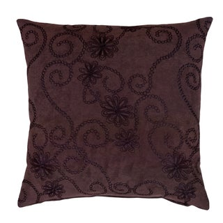 Church Hill 17-inch Chocolate Brown Embroidered Decorative Throw Pillow
