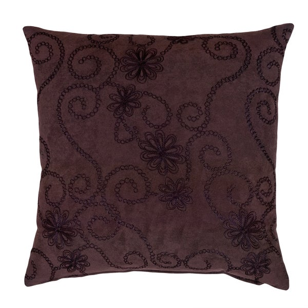Church Hill 17-inch Chocolate Brown Embroidered Decorative Throw Pillow - Overstock Shopping ...