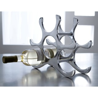 Six Bottle Polished Aluminum Wine Rack
