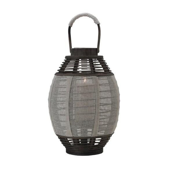 Elements 17-inch Cream Jute-wood Lantern