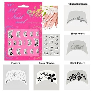 Zodaca 3D French Nail Art DIY Tattoo Stickers