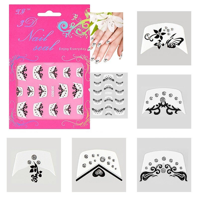 INSTEN 3D French Nail Art DIY Tattoo Stickers