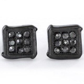 Black Hematite Micro-pave Crystal Square Stud Earrings