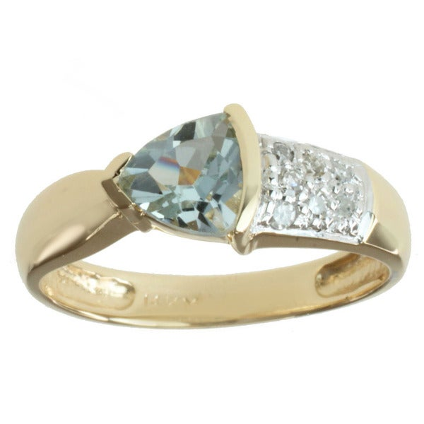 Michael Valitutti 14k Yellow Gold 1/10ct TDW Diamond Aquamarine Ring (I-J, I1-I2)