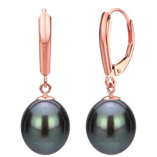 DaVonna 14k Rose Gold Black Cultured Pearl Dangle Earrings (6-11 mm)