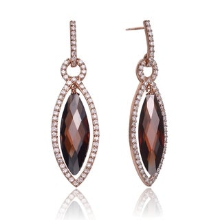 Collette Z Rose-plated Sterling Silver Coffee Cubic Zirconia Pear Shape Earrings