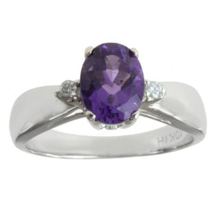Michael Valitutti 10k White Gold Amethyst and Diamond Accents Ring