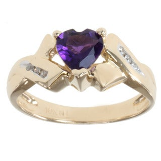 Michael Valitutti 10k Yellow Gold Amethyst and Diamond Accents Ring