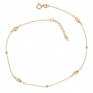 Fremada 14k Yellow Gold Diamond-cut Bead Chain and Twisted Marquise Station Adjustable Anklet (10 inch)