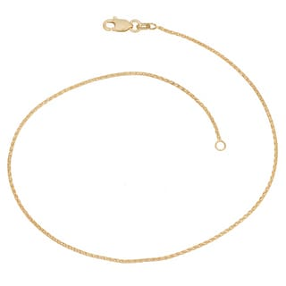 Fremada 14k Yellow Gold Wheat Chain Anklet (10 inch)