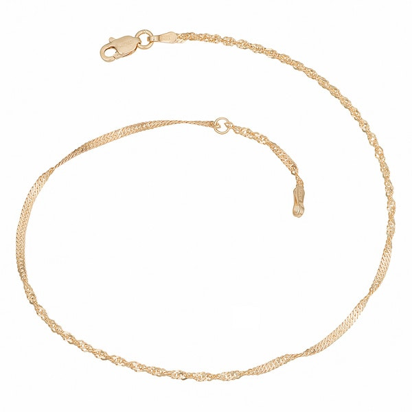 Fremada 14k Yellow Gold Singapore Chain Adjustable Anklet (10 inch)