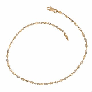 Fremada 14k Two-tone Gold Diamond-cut Dorica Chain Anklet (10 inch)