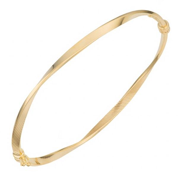 Fremada 10k Yellow Gold Polished and Textured Finished Twist Bangle