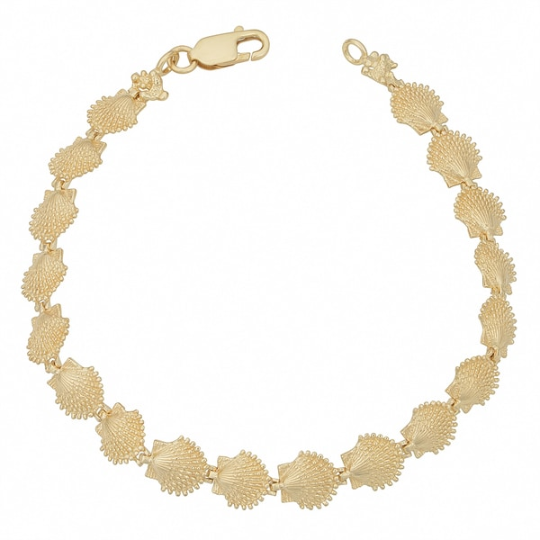 Fremada 14k Yellow Gold Scallop Shell Bracelet