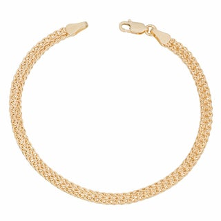 Fremada 14k Yellow Gold Diamond-cut Bismark Bracelet (7.5 inch)