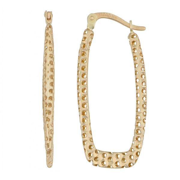 Fremada 14k Yellow Gold Diamond-cut Laser Rectangular Hoop Earrings