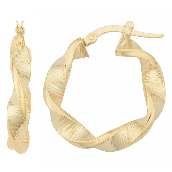 Fremada 14k Yellow Gold Crinkle Twist Hoop Earrings