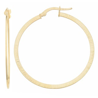 Fremada 10k Two-tone Gold Textured Flat Round Hoop Earrings