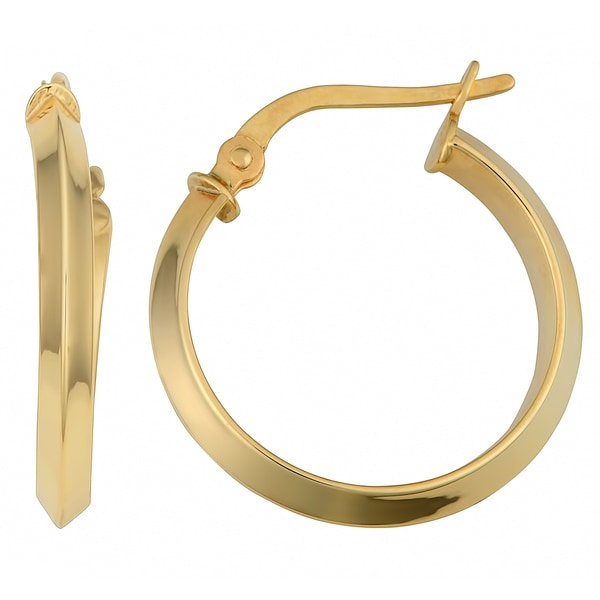 Fremada 14k Yellow Gold Polished Triangle Tube Hoop Earrings