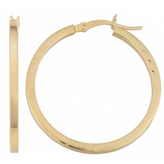 Fremada 14k Yellow Gold Square Tube Diamond-cut Florentine Hoop Earrings